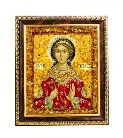 """Nominal icon decorated with natural amber """"The Holy Great Martyr Veronica"""""""