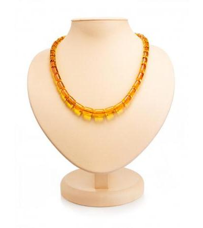 """Beads from natural amber cognac color """"Kegs"""""""