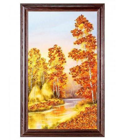 """Enchanting landscape with natural Baltic amber """"Silence in the forest"""""""