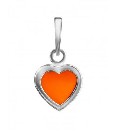 Miniature pendant in the shape of a heart made of silver and cherry amber