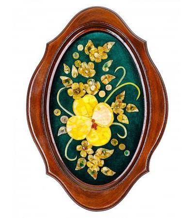"""Decorative panel from amber """"Orchid"""" on green velvet 32 x 22 cm"""