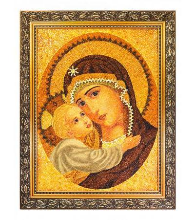"""Icon of the Mother of God """"Tenderness"""" lined with natural Baltic amber 70 x 55 cm"""