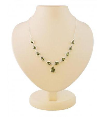 "Bright necklace made of silver with natural green amber ""Fiori Corsica"""