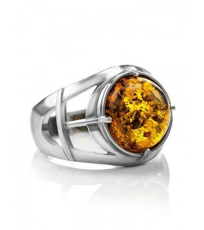 """Large men's ring made of silver with """"Caesar"""" cognac amber"""