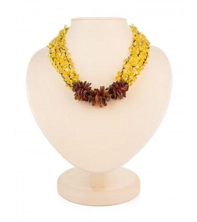 "Braided necklace ""Chrysanthemum"" made of natural amber in contrasting shades"