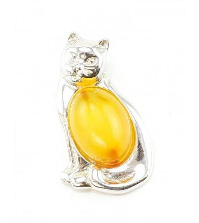 """Small silver pendant made of natural honey amber in silver """"Cat"""""""