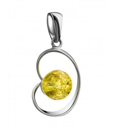 """Delicate pendant made of silver and natural Baltic amber """"Leia"""""""