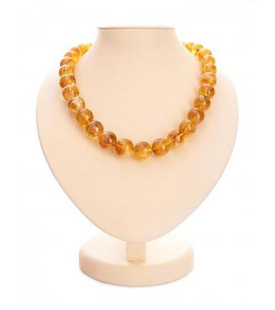 """Luxurious beads from natural molded amber """"Picturesque ball"""""""