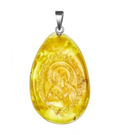 """Pendant-icon made of natural amber with carving """"Theotokos. Tenderness (Joy of all joys) """""""
