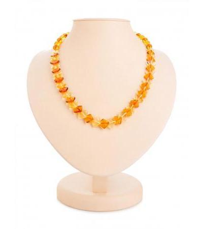 "Original beads made of natural amber ""Squares"""