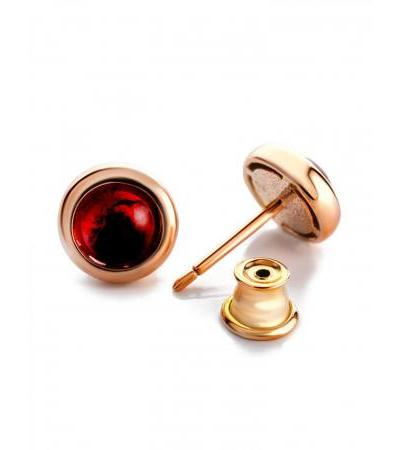 """Small earrings-studs with cherry amber """"Yagodka"""""""