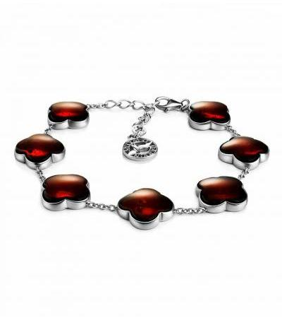 """Luxurious bracelet made of silver with natural amber """"Monaco"""""""