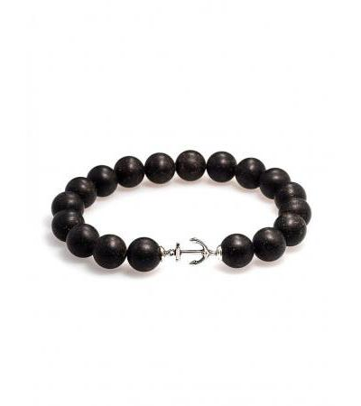 """Strong unisex bracelet in black amber with """"Cuba"""" anchor"""