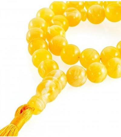 "Muslim rosary for 33 beads ""Ball honey"" from natural solid amber"