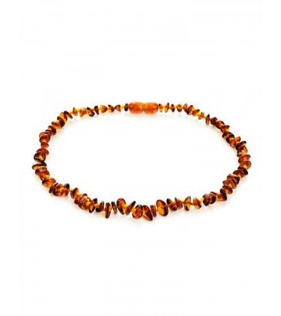 "Children's beads made of natural dark cognac amber ""Chips"" for children"