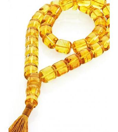 Volumetric rosary-barrels made of natural whole lemon amber