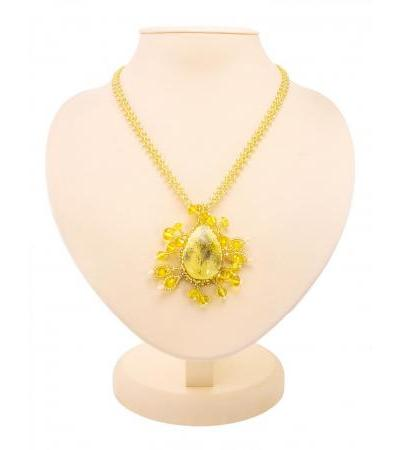 """Beautiful braided necklace made of beads and natural honey amber """"Lukomorye"""""""