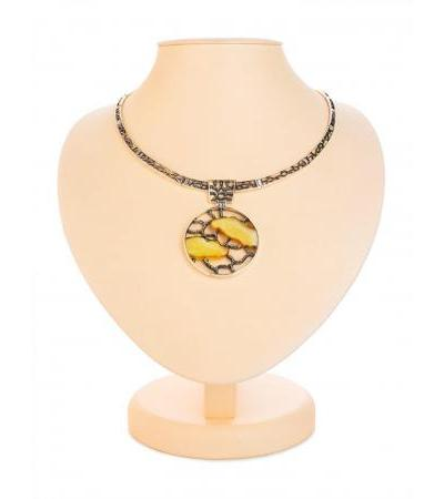 "Exclusive necklace made of silver and natural Baltic amber ""Modern"""