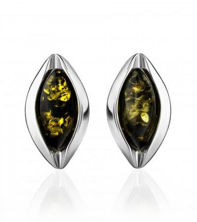 """Neat earrings made of silver and natural amber of green color """"Sofia"""""""