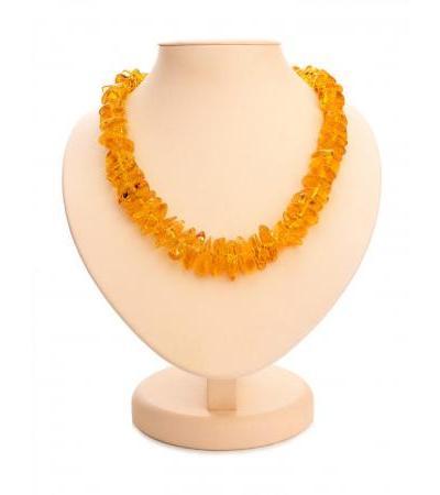 "Elegant beads made of natural solid amber ""Golden cognac chips"""