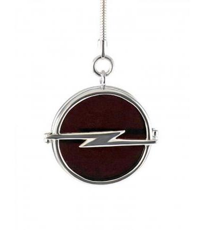 Cherry amber and silver keychain with Opel car logo