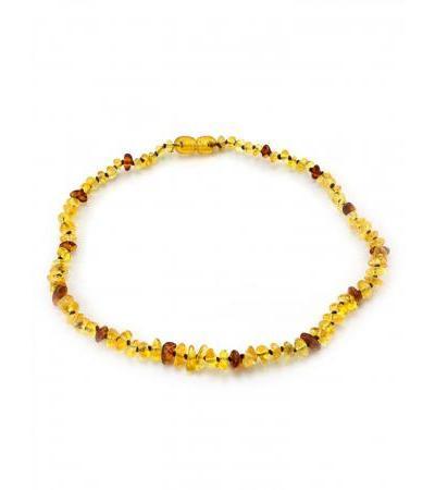 "Children's beads made of natural Baltic lemon and cognac amber ""Pebble solar"" for children"