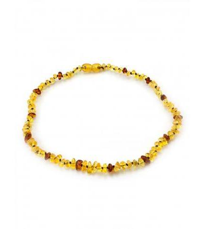 "Children's beads made of natural Baltic lemon and cognac amber ""Pebble solar"" for children"