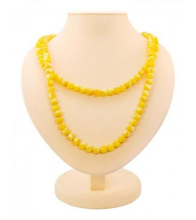 """Double beads from natural molded Baltic amber honey color """"Angelica"""""""