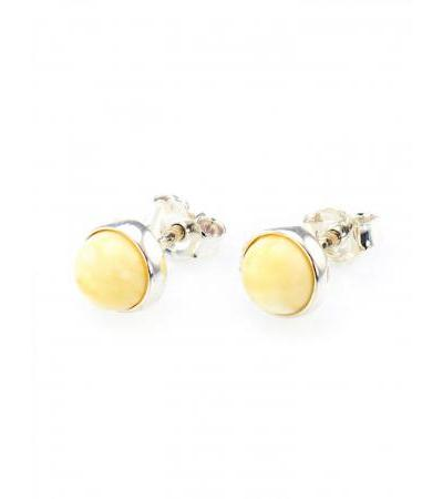 "Delicate silver earrings-studs with inserts from natural honey amber ""Berries"""