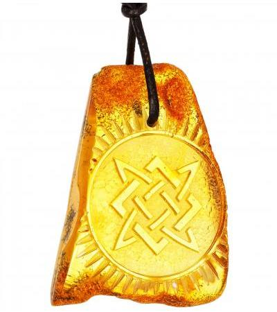 """Carved pendant made of natural amber """"Star of Russia"""""""