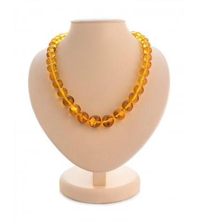 """Natural amber beads of golden color """"Crumpled ball"""""""