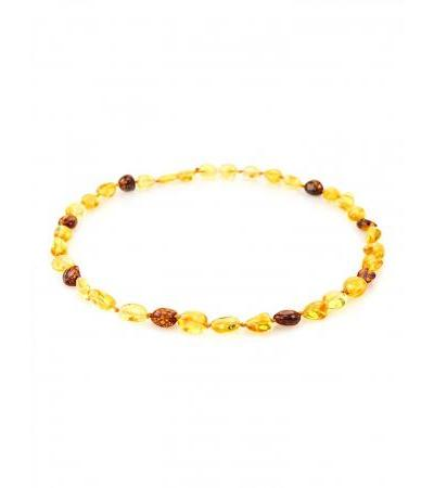 """Children's necklace made of natural Baltic amber """"Lemon and cognac olives"""" for children"""
