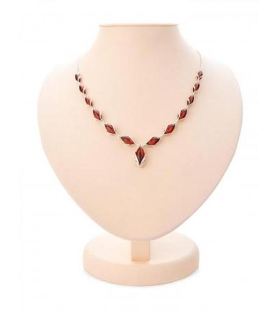 "Elegant necklace made of silver and natural solid amber of cherry color ""Snowdrop"""