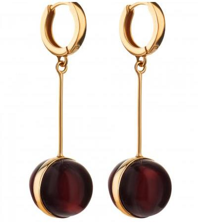 """Spectacular earrings made of gilded silver and cherry amber """"Sorbonne"""""""