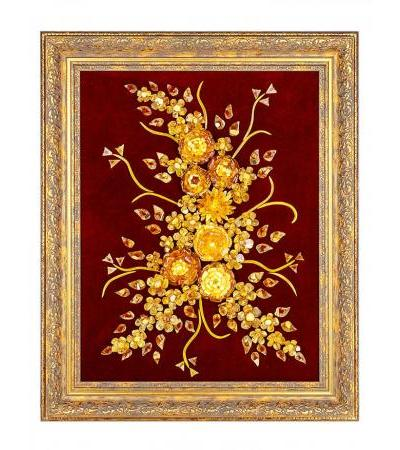 """Amber painting on cherry velvet """"Bouquet with clematis"""""""