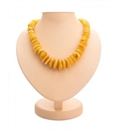 """Stylish beads made of natural Baltic amber """"Large honey chips"""""""