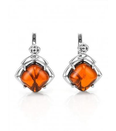 """Stylish silver earrings with natural cognac amber """"Astoria"""""""
