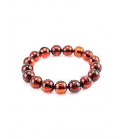 "Bracelet made of molded amber ""Transparent cherry balls"""