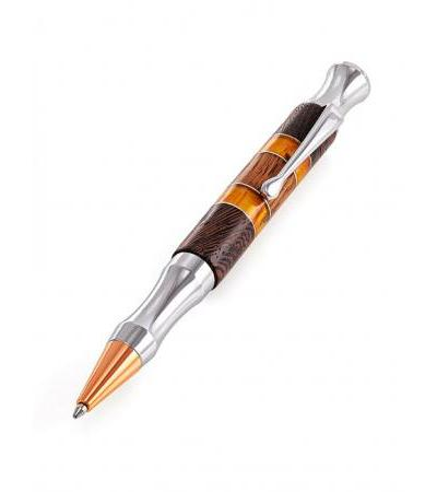 """Handle decorated with wenge wood inserts and natural """"Rocket"""" amber"""