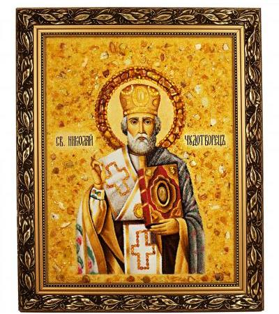 """Icon made of natural amber """"St. Nicholas the Wonderworker"""""""