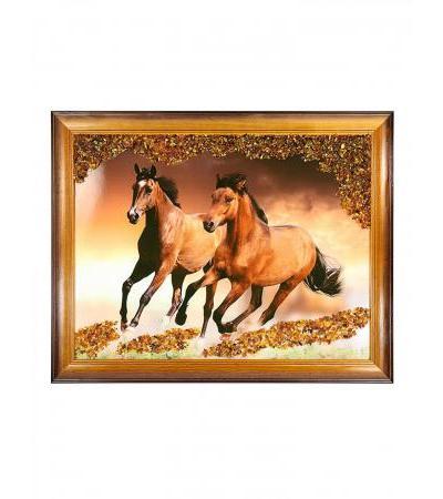 "Horizontal panel with natural amber ""Horses"""
