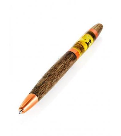 Ручка из дерева и натурального цельного балтийского янтаря с включениями
