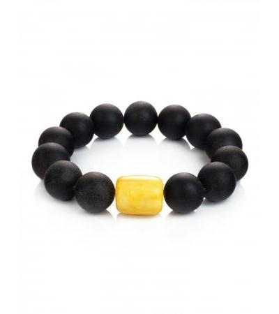 "Fashionable bracelet made of black molded amber ""Cuba"""