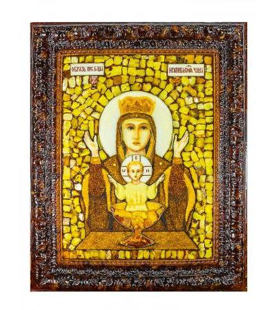 """Icon of the Mother of God """"Inexhaustible Chalice"""" made of natural amber in a cast frame"""