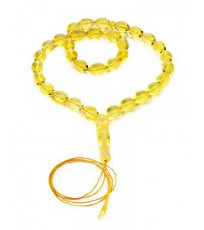 Muslim prayer beads made from natural whole lemon amber