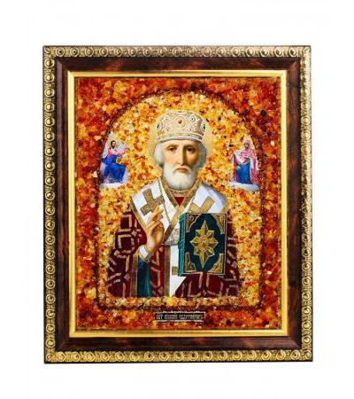 """Icon with natural amber """"St. Nicholas the Wonderworker"""""""
