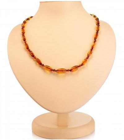 """Shining amber necklace """"Alyonka cognac"""""""