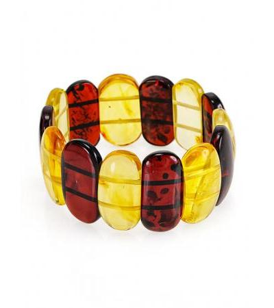 """Bright stylish bracelet made of natural Baltic amber """"Lemon and cherry plates"""""""