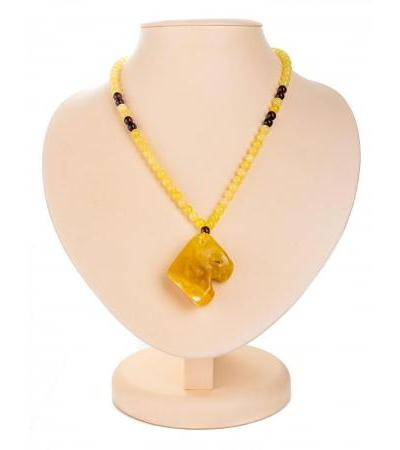 "Necklace ""Laura"" from natural solid honey-colored amber"