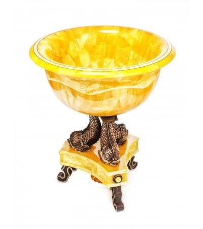 Unique handmade decorative vase made of natural Baltic amber and silver